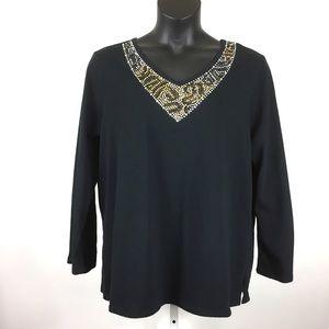 Quacker Factory Shirt Long Sleeve V-Neck 1X Black